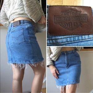 Vintage High Waist Harley Davidson Jean Skirt